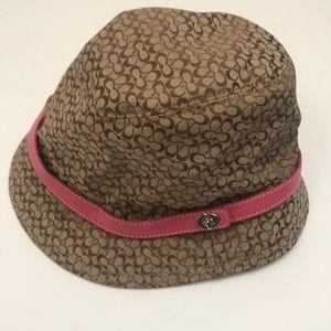 Coach brown bucket hat with pink trim